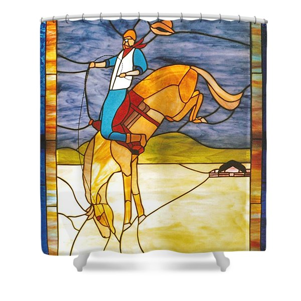 The Stained Glass Cowboy Riding Out The Bucks Shower Curtain by Patricia Keller