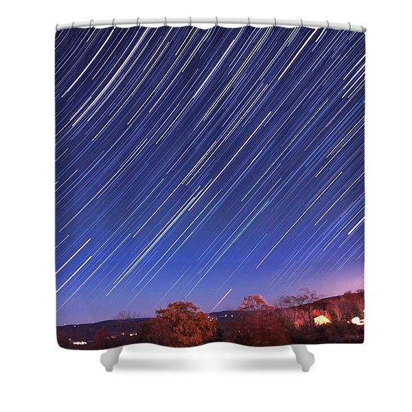 The star trail in Ithaca Shower Curtain by Paul Ge