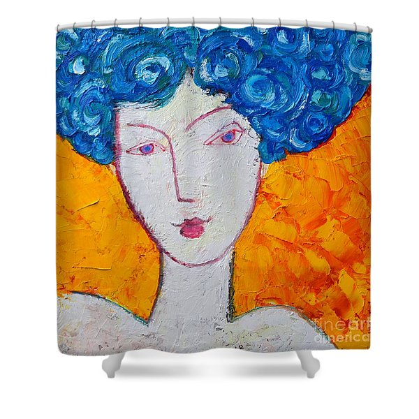 THE STRENGTH OF GRACE EXPRESSIONIST GIRL PORTRAIT Shower Curtain by ANA MARIA EDULESCU