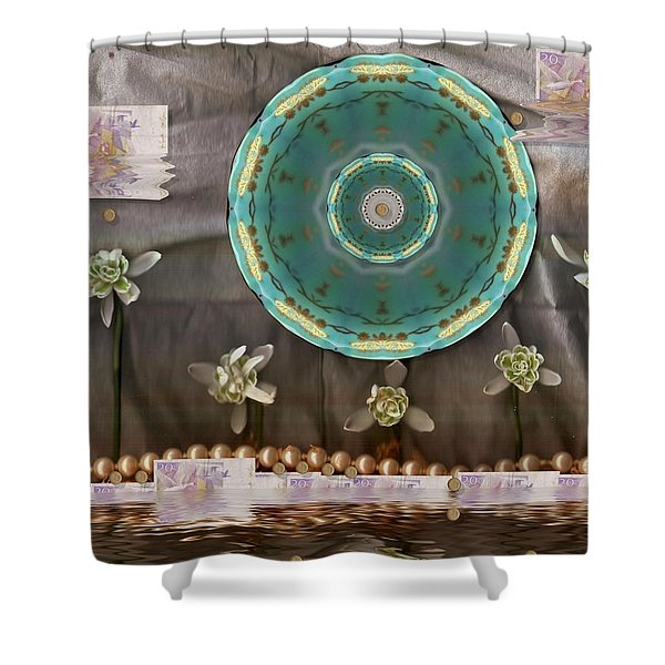 the temple of mammon Shower Curtain by Pepita Selles