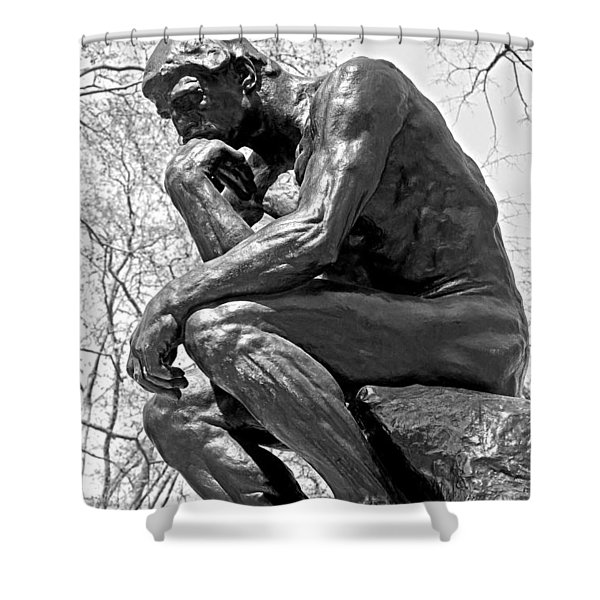 The Thinker In Black And White Shower Curtain by Lisa  Phillips