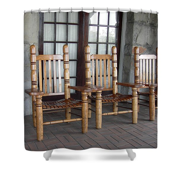 The Three Chairs Shower Curtain by Denyse Duhaime