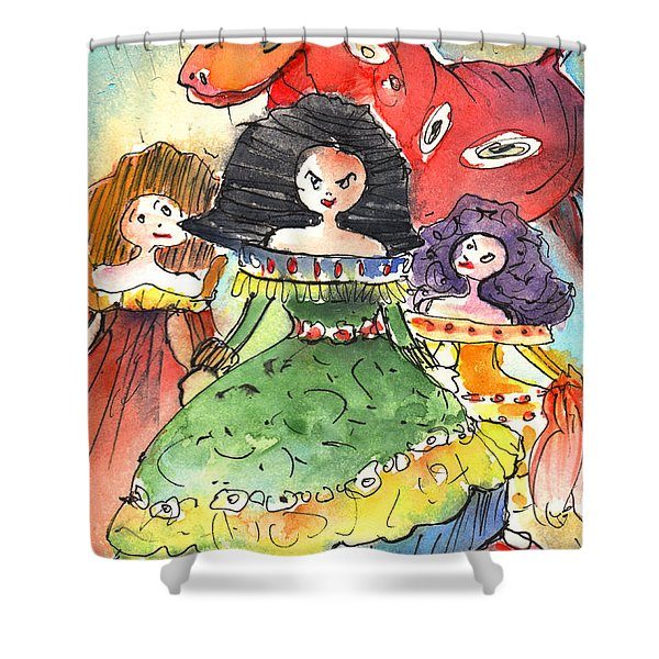 The Three Graces from Lanzarote and The Red Bull Shower Curtain by Miki De Goodaboom