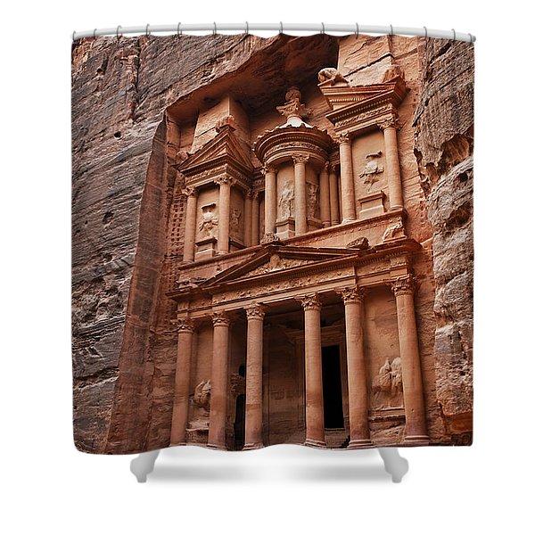 The Treasury In Petra Jordan Shower Curtain by Robert Preston