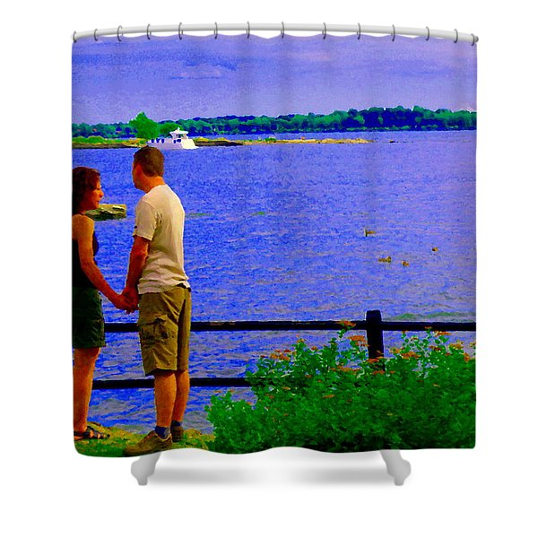The Vow Lovers Forever By The Lake Summer Romance St Lawrence Shoreline Scenes Carole Spandau Art Shower Curtain by Carole Spandau