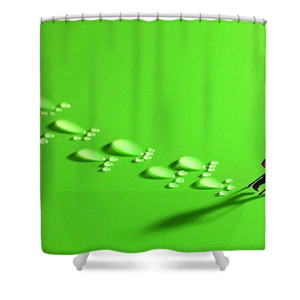 The walker and footprints little people big world Shower Curtain by Paul Ge