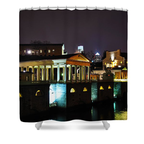 The Waterworks at Night Shower Curtain by Bill Cannon