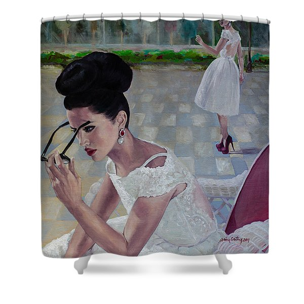 The White Lace Dress Shower Curtain by Dorina  Costras