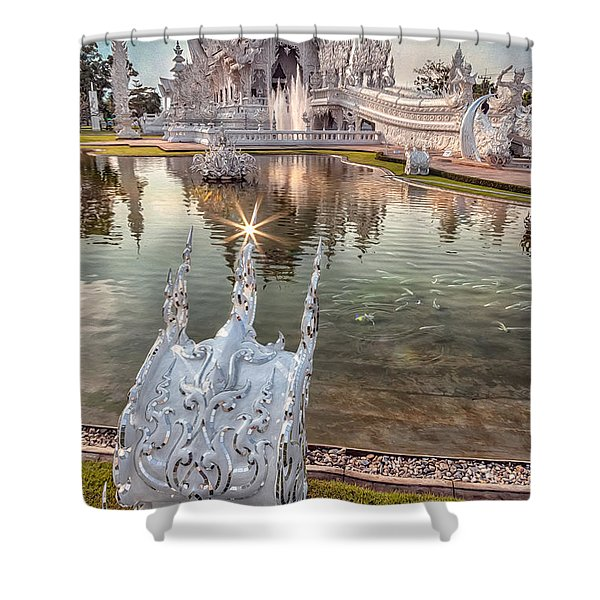 The White Temple Shower Curtain by Adrian Evans