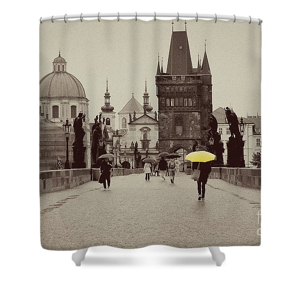 The Yellow Umbrella Shower Curtain by Ivy Ho
