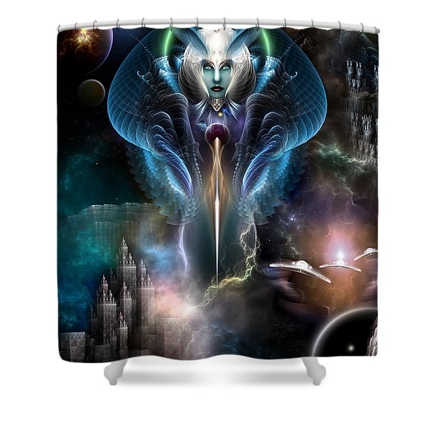 Thera Queen Of The Galaxy Shower Curtain by Rolando Burbon
