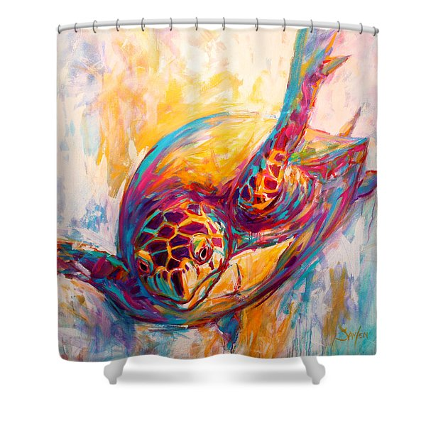 There's More Than Just Fish In The Sea - Sea Turtle Art Shower Curtain by Savlen Art