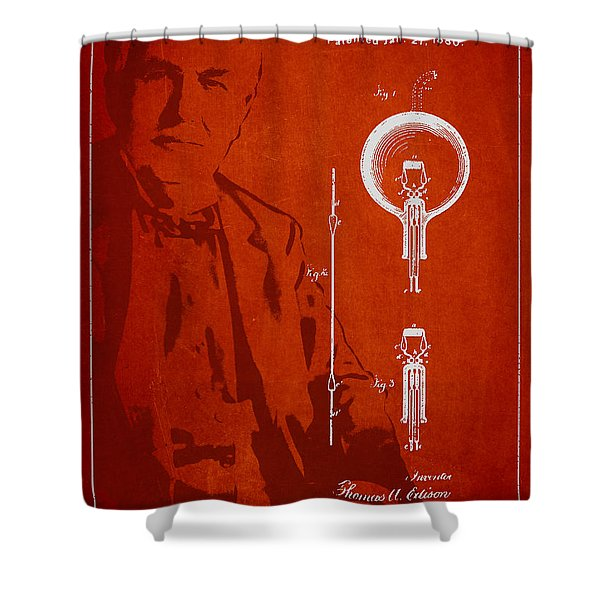 Thomas Edison Electric Lamp Patent Drawing From 1880 Shower Curtain by Aged Pixel