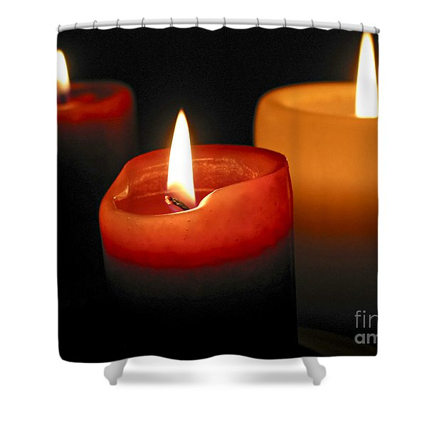 Three burning candles Shower Curtain by Elena Elisseeva