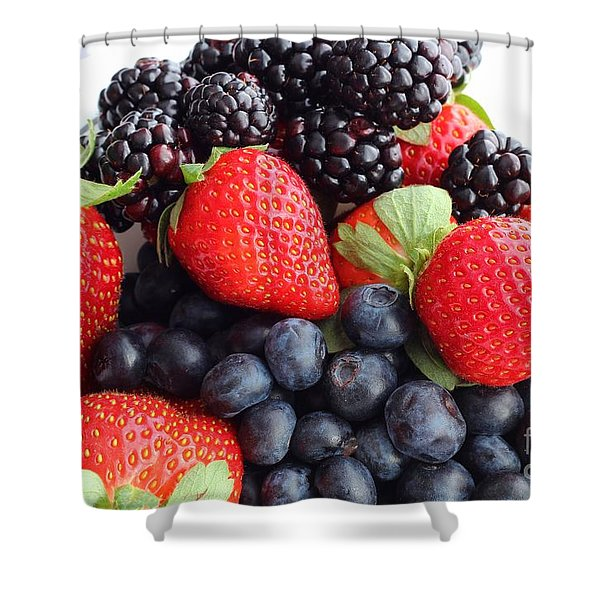 Three Fruit Closeup - Strawberries - Blueberries - Blackberries Shower Curtain by Barbara Griffin