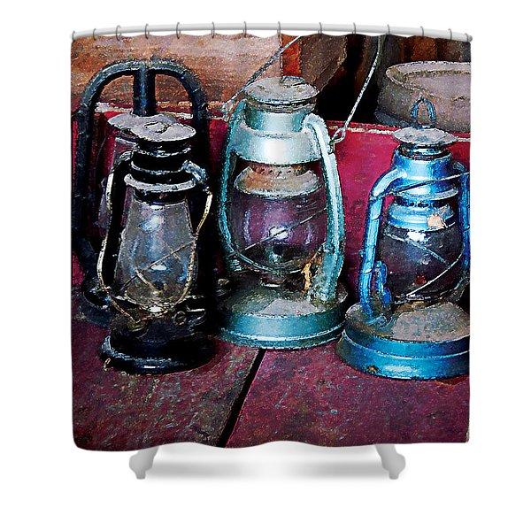 Three Kerosene Lamps Shower Curtain by Susan Savad