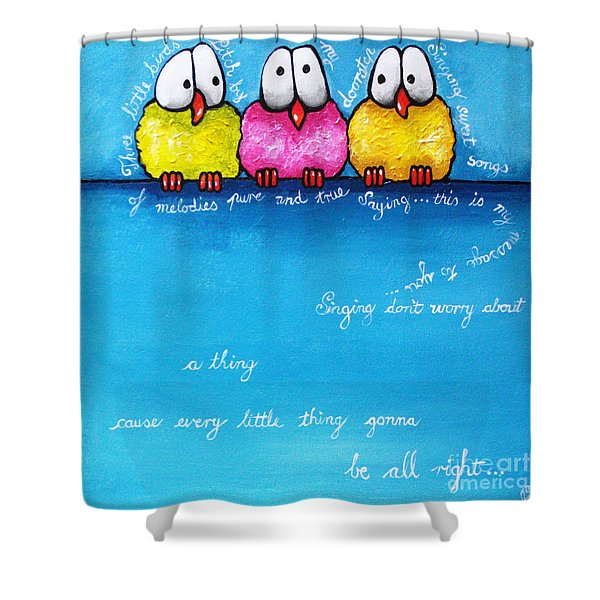 Three Little Birds Shower Curtain by Lucia Stewart