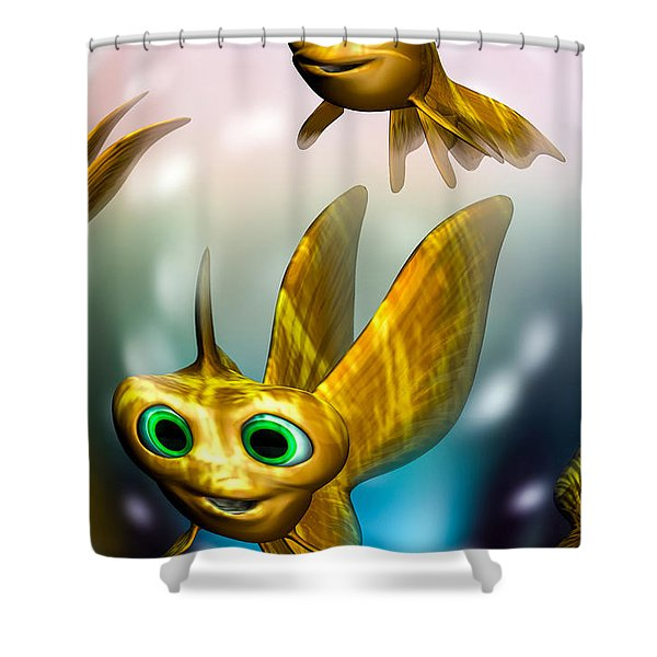 three little fishies and a mama fishie too Shower Curtain by Bob Orsillo