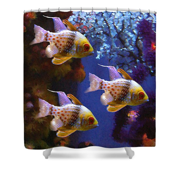 Three Pajama Cardinal Fish Shower Curtain by Amy Vangsgard