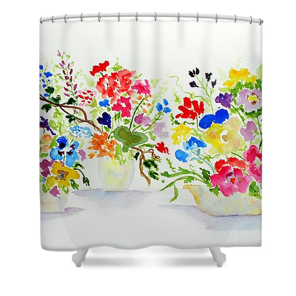Three Pots Shower Curtain by Jamie Frier