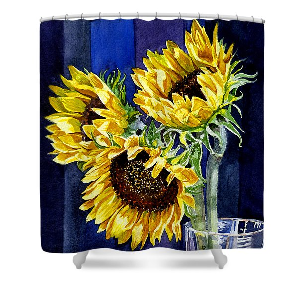Three Sunny Flowers Shower Curtain by Irina Sztukowski