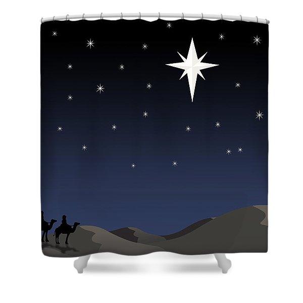 Three Wisemen Following Star Shower Curtain by Daniel Sicolo