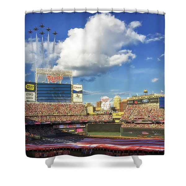 Thunderbird Flyover at Target Field for All Star Game Shower Curtain by Mountain Dreams