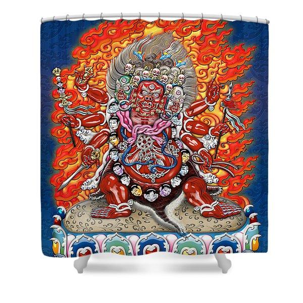 Tibetan Thangka  - Wrathful Deity Hayagriva Shower Curtain by Serge Averbukh