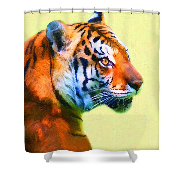 Tiger . 7d2058 . Painterly Shower Curtain by Wingsdomain Art and Photography