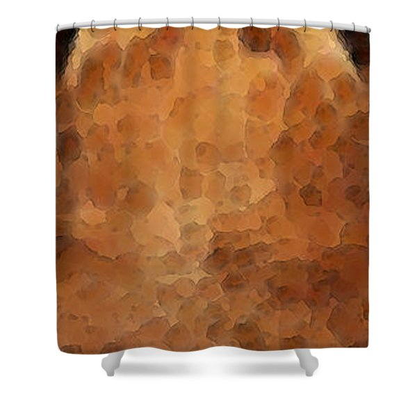 Tiger Art - Hungry Eyes Shower Curtain by Sharon Cummings