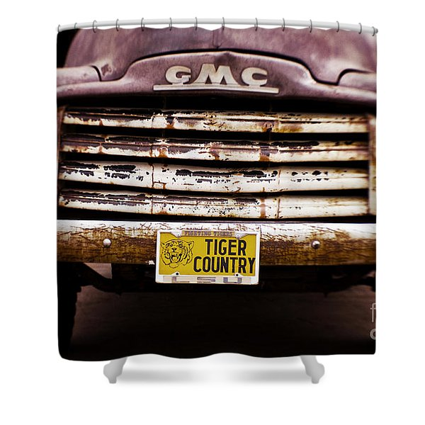 Tiger Country - Purple and Old Shower Curtain by Scott Pellegrin