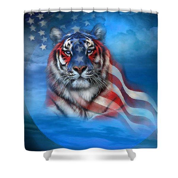 Tiger Flag Shower Curtain by Carol Cavalaris