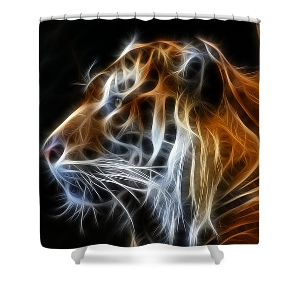 Tiger Fractal Shower Curtain by Shane Bechler