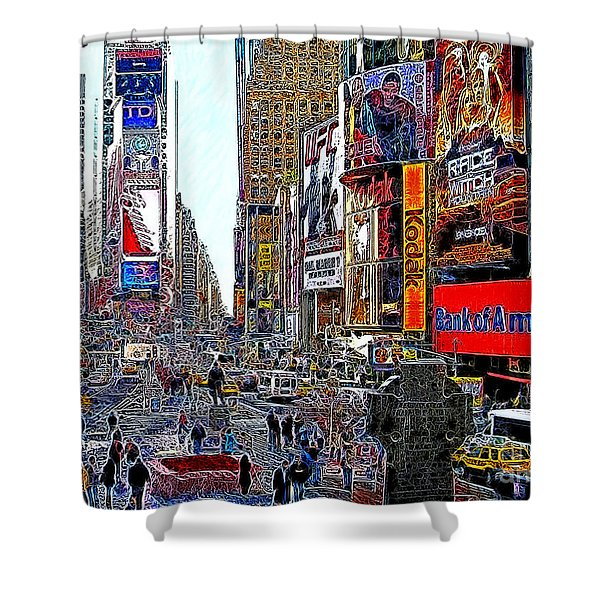 Time Square New York 20130503v4 Shower Curtain by Wingsdomain Art and Photography