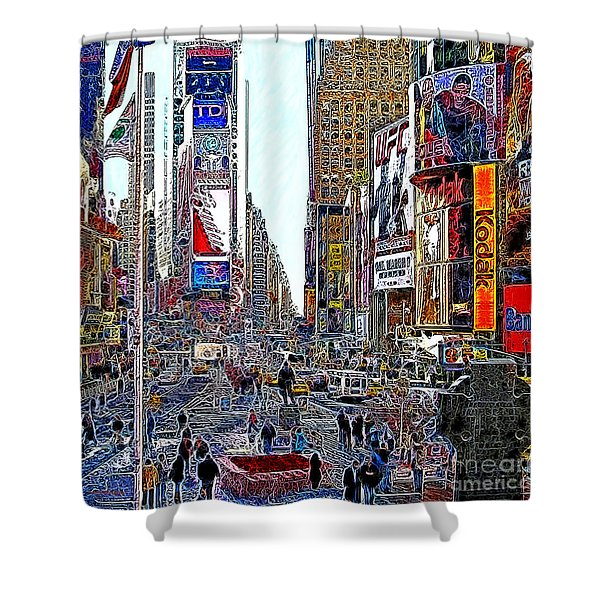 Time Square New York 20130503v8 square Shower Curtain by Wingsdomain Art and Photography