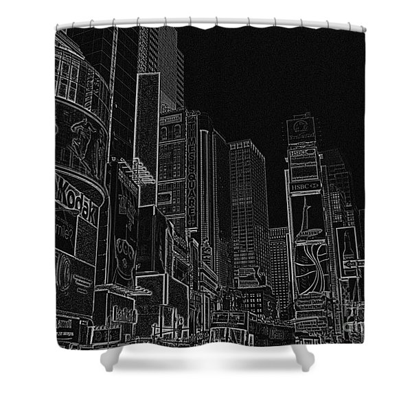 Times Square NYC white on black Shower Curtain by Meandering Photography