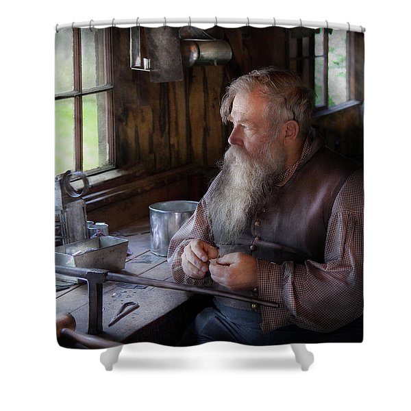 Tin Smith - Making Toys For Children Shower Curtain by Mike Savad
