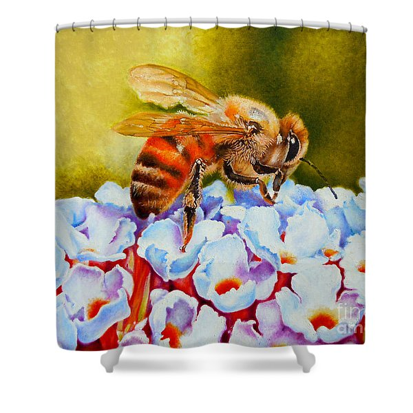 To Bee Or Not To Bee Shower Curtain by Rene Holovsky