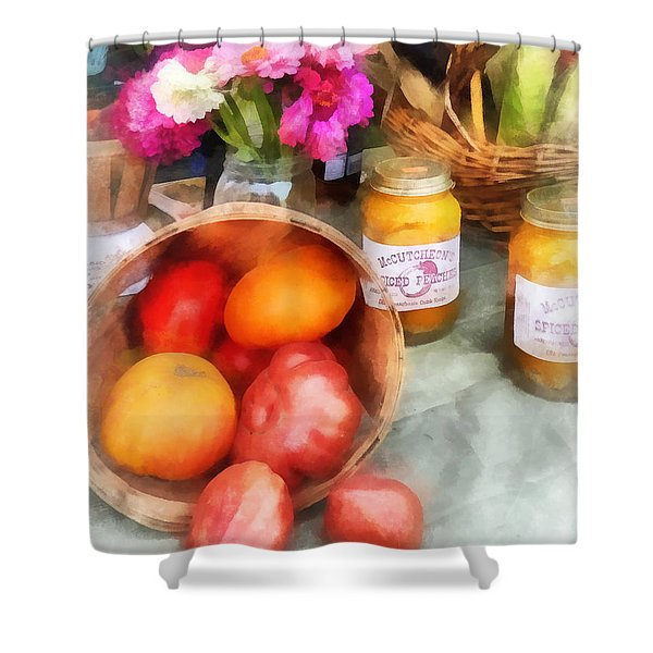 Tomatoes And Peaches Shower Curtain by Susan Savad