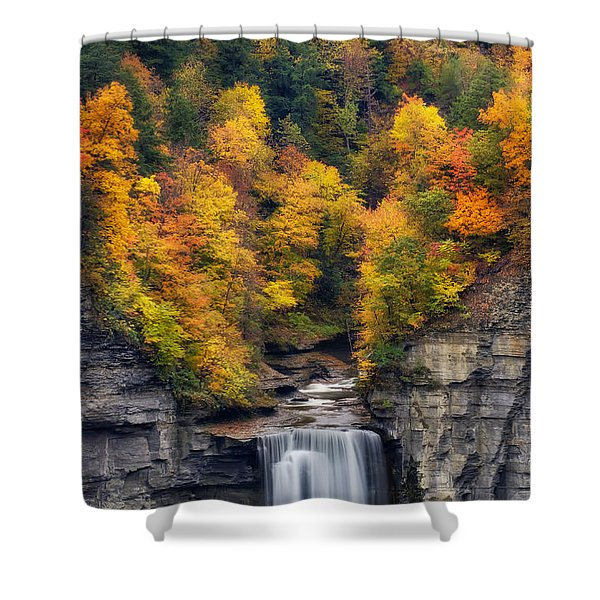 Top Of The Falls Shower Curtain by Mark Papke