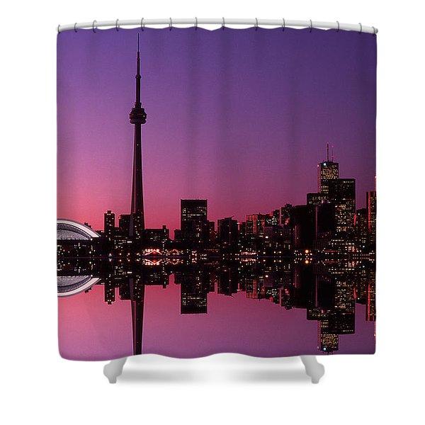 Toronto Skyline At Sunset, Toronto Shower Curtain by Alan Marsh
