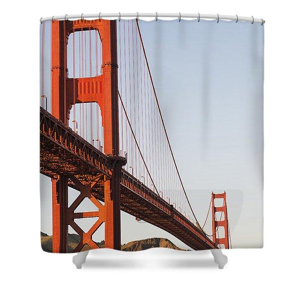 Tour Boats Cross Under Golden Gate Shower Curtain by Harry M. Walker
