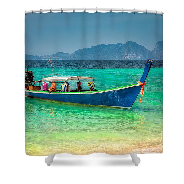 Tourist Longboat Shower Curtain by Adrian Evans