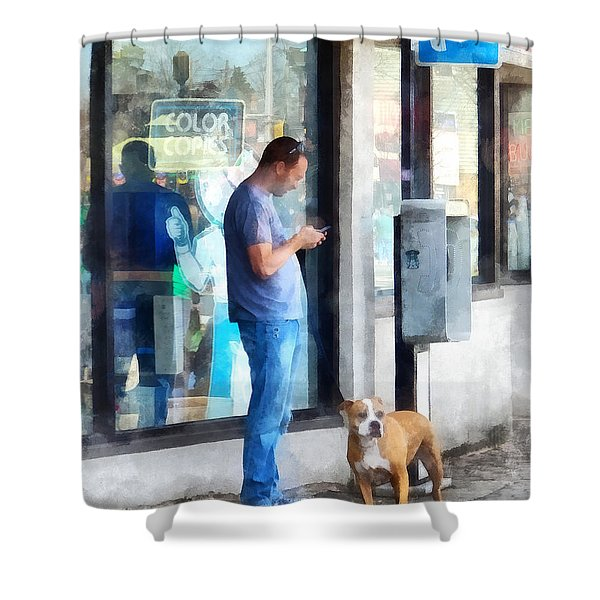 Towns - Pay Phone Shower Curtain by Susan Savad