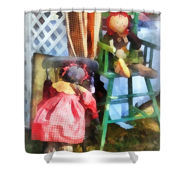 Toys - Two Rag Dolls At Flea Market Shower Curtain by Susan Savad