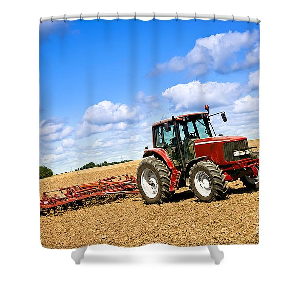 Tractor in plowed farm field Shower Curtain by Elena Elisseeva