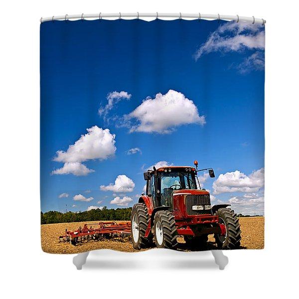 Tractor in plowed field Shower Curtain by Elena Elisseeva