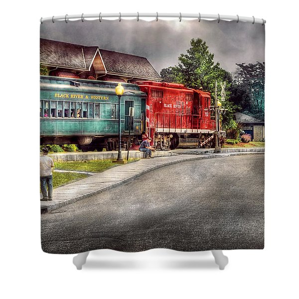 Train - Engine - Black River Western Shower Curtain by Mike Savad