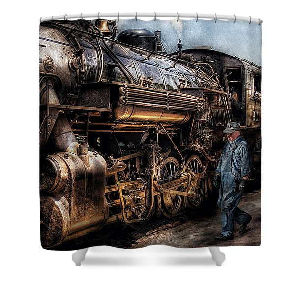 Train - Engine -  Now boarding Shower Curtain by Mike Savad