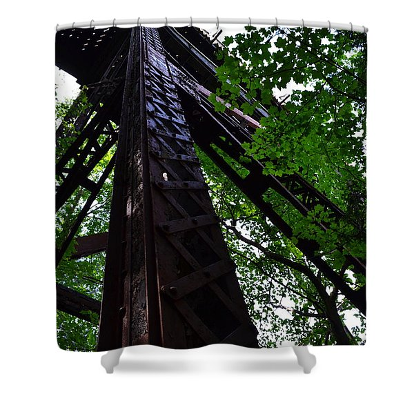 Train Trestle In The Woods Shower Curtain by Michelle Calkins